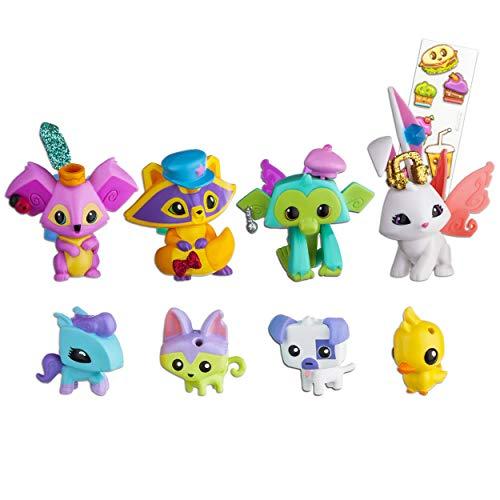 Animal Jam Toys Figures Playset -- Bundle Includes 8 Mini Figures and Puffy Stickers (Bunny, Ducky, Raccoon, Kitty, Monkey, Puppy, Koala, Pony)