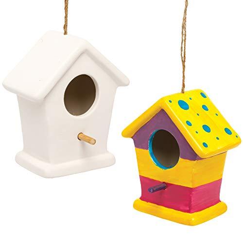Baker Ross AX846 Keramik Vogelhaus zum Bemalen - 2er Pack, Nistkästen für Vögel zum Bemalen und Basteln für Kinder