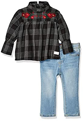 7 For All Mankind Baby Girls Fashion Top and Denim Jean Set, Black and White Plaid/Light Wash, 12M