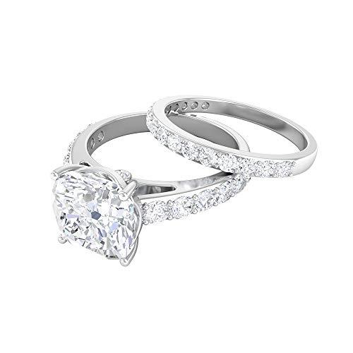 Anillo solitario de corte cojín de 8,5 mm, D-VSSI Moissanita Eternity, anillo de oro blanco de 14 quilates blanco