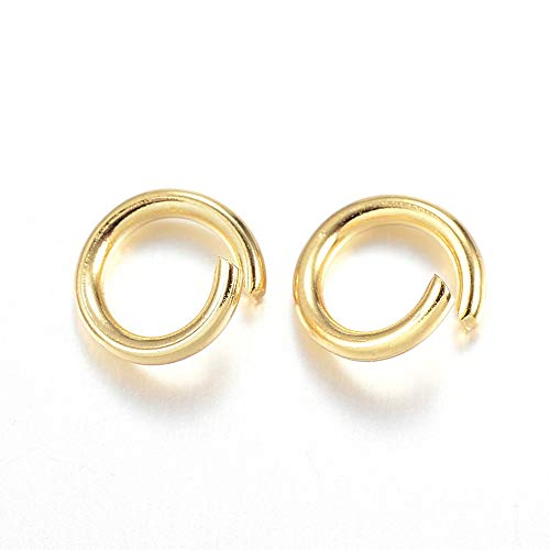 DanLingJewelry 200Pcs 304 Stainless Steel 19 Gauge Open Jump Rings 6mm for Jewelry Making Connectors Jewelry Finding Golden Color