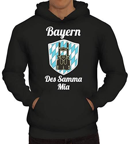 ShirtStreet Wiesn Gaudi Herren Hoodie Männer Kapuzenpullover Oktoberfest - Bayern des samma mia, Größe: XL,Schwarz