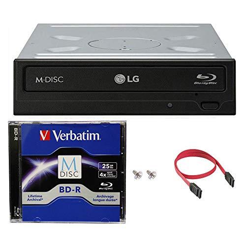 LG WH14NS40 16X Blu-ray BDXL DVD CD Internal Burner Drive Bundle with Free 25GB M-DISC BD + SATA Cable + Mounting Screws