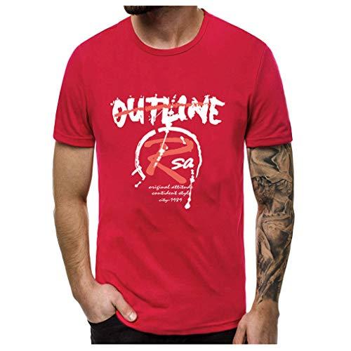 Yowablo T-Shirt Herren Oversize Kurzarmshirt Top Print Shirt Modedruck T-Shirts Kurzarm Top Bluse (L,1Rot)