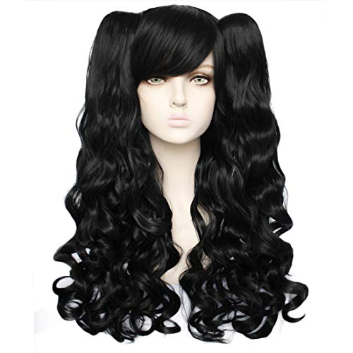 JoneTing Black Wig with Bangs for Costume Black Wig Cosplay Lolita Wigs With Long Curly Wig
