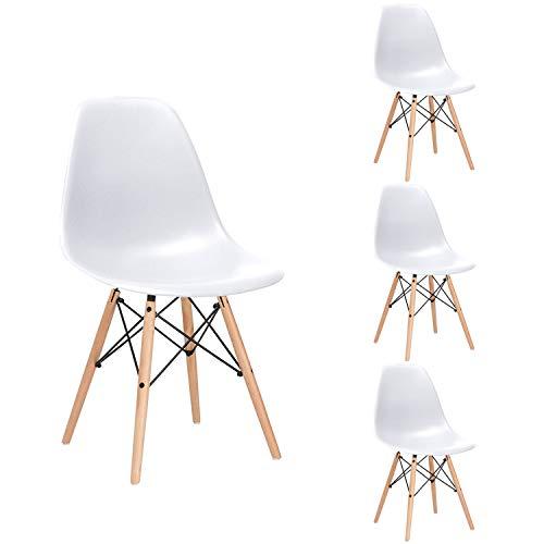 Nicemoods Silla de Comedor Pack 4 Sillas, Salon, Cocina o Escritorio, con Patas de Madera Natural (Blanca) ⭐