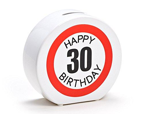 Spardose Geburtstag aus Keramik in 6 Varianten - Happy Birthday 30 - Geldgeschenk zum Geburtstag von WoMa - Weiß/Rot