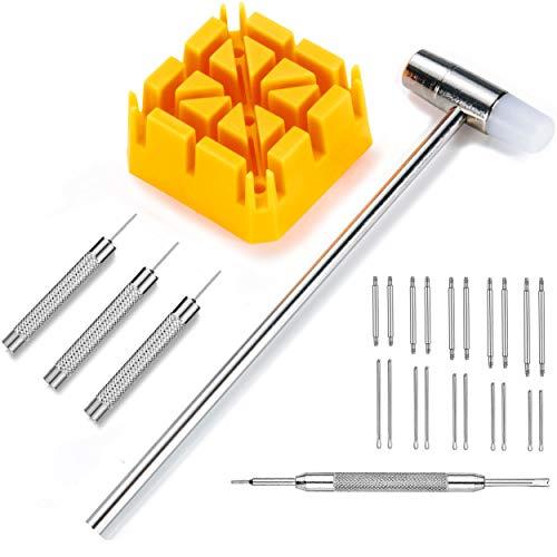 Uhrenwerkzeug Federsteg Entferner/Gliederstifte Entferner/Hammer/Uhrenstifte - 6tlg Reparatur Werkzeug Set