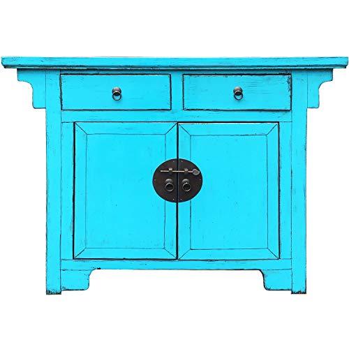 Chinesischer Hochzeitsschrank Schrank Kommode Tuan Blau 114cm hoch | China Vintage kleines Sideboard schmal | Asia Konsole aus Holz massiv für den Flur Schlafzimmer Wohnzimmer oder Bad