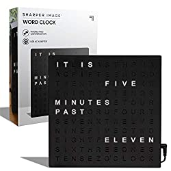 "Sharper Image Light Up Electronic Word Clock, Black Finish with LED Light Display, USB Cord and Power Adapter, 7.75"" Square Face, Unique Contemporary Home and Office Décor Black (Black)"