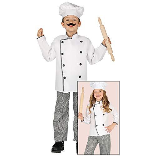 Amakando Divertido Disfraz Infantil Chef/Blanco-Negro 7-9 aos, 127-132 cm/Disfraz de Panadero para nios y nias/Insuperable para Festival Infantil y Fiesta temtica