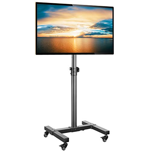 Rfiver Rolling Floor TV Stand with Mount for 13-43 Inch Flat Screen/Curved TVs, Portable Mobile TV Cart Display Stand with Wheels and Height Adjustable, Black