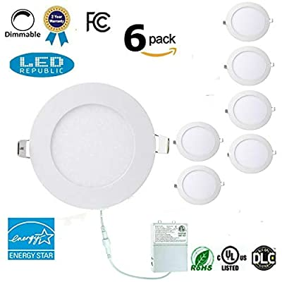 Led 9W 4-inch 710 Lumen ENERGY STAR UL-classified Dimmable Slim Extra Thin Retrofit LED Recessed Lighting Fixture, 80W Halogen Equivalent for New Construction and Remodel