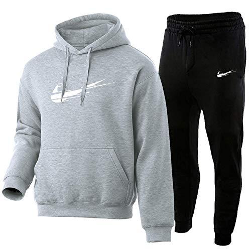HUPAI Chandal Hombre Completo, Pantalon Chandal Hombre Y Chandal Hombre, 3D Impreso Jordan Negro Fashion Sportswear Adecuado para Calzado Deportivo (s-3xl) (Light Gray,L)