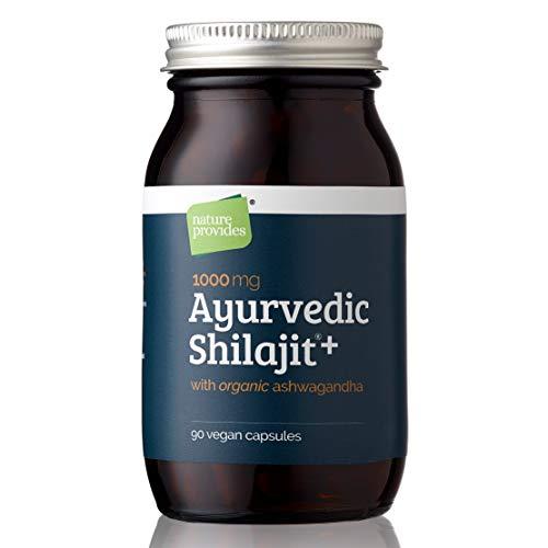 Ayurvedisches Shilajit (1000mg) und Bio Ashwagandha Wurzel, 90 hochdosierte Kapseln - Fulvinsäure, mineralstoffreich Ayurvedisches Nahrungsergänzungsmittel für Stress und Energie. Natürlich & rein
