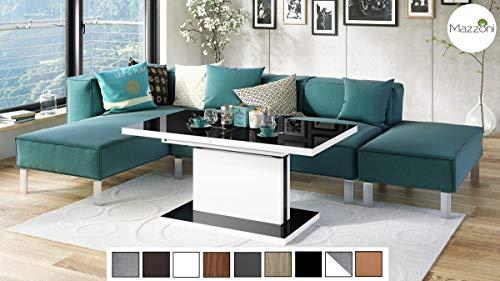 Mazzoni Design Couchtisch Tisch Aston stufenlos höhenverstellbar ausziehbar 120 bis 200cm Esstisch (Schwarz Hochglanz/Weiß matt)