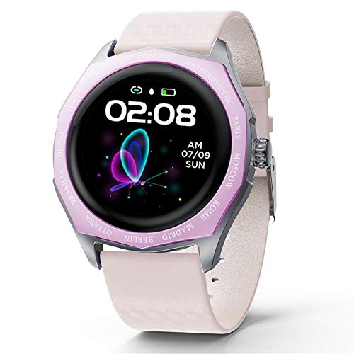 NUNGBE Modische weibliche Smartwatch wasserdichte Herzfrequenz Blutdruckmessgerät Smartwatch Damenuhr Geschenk Armband Full Touch-Pink_White