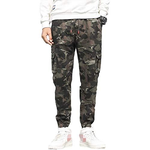 Stretch-Hose mit elastischer Taille und elastischer Taille für Herren Entspannte Cargohose Camo Combat Work Pants mit Mehreren Taschen 4XL