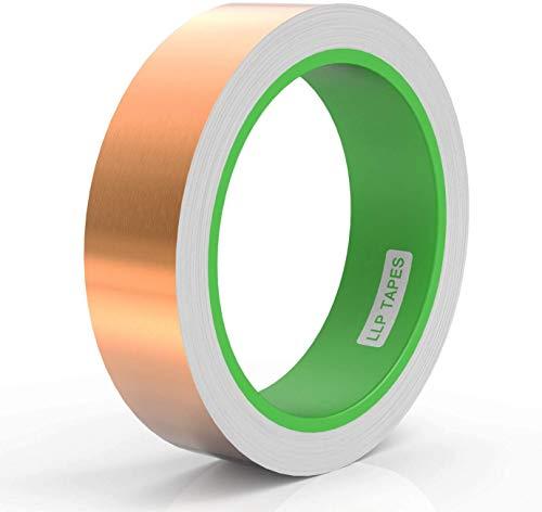 LLPT Kupferfolie Klebeband 25mm x 10m Selbstklebend Abschirmband für EMI-Abschirmung Buntglasschaltung Craft Elektrische Reparatur Starker Klebstoff Selbstklebendes(CF250)