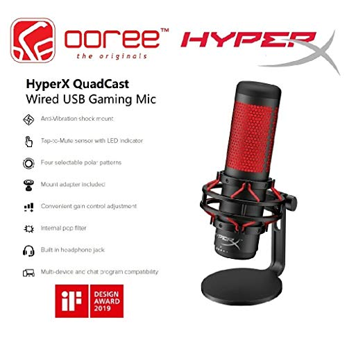 2020 Latest HyperX QuadCast - USB QuadCast Gaming Condenser Microphone, PC, PS4, Mac,Podcasts, Twitch, YouTube with GalliumPi Bundles