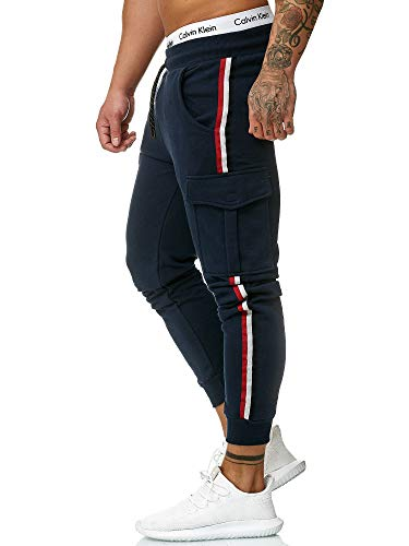 OneRedox Herren | Jogginghose | Trainingshose | Sport Fitness | Gym | Training | Slim Fit | Sweatpants Streifen | Jogging-Hose | Stripe Pants  Modell 1318 Navy M