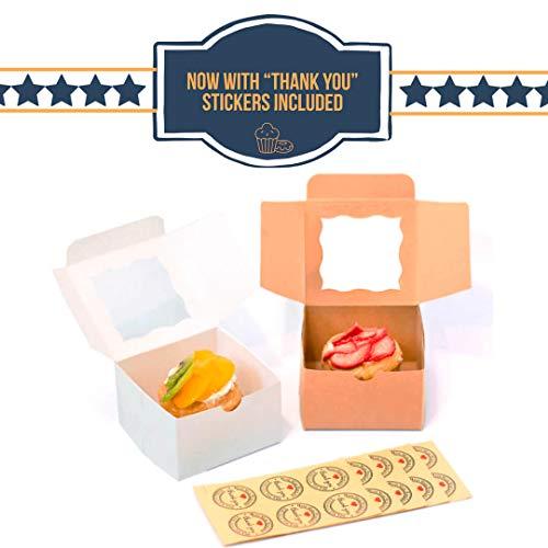 Panadería Caja con ventana. 4x 4x 2,5pulgadas. 25unidades. Take Out cajas de regalo para pastas, galletas, Cupcakes, y más