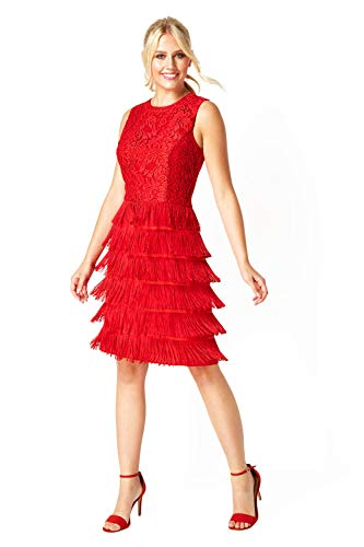 Roman Originals Femme Robe Charleston Franges et Dentelle - Années 20 Art Déco Gatsby Frange Soirée Vintage Retro Cocktail - Rouge - Taille 42