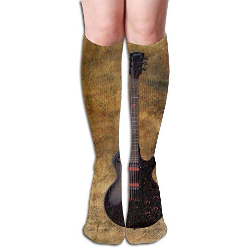 HNJZ-GS Kniehohe Unisex-Socken, Lange Gitarre, Hintergrundbild ¨¹ber Waden, l?ssige Sportstr¨¹mpfe, Baumwolle