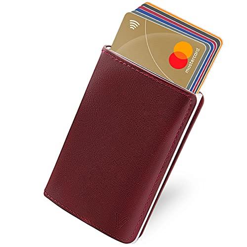 Tarjetero Piel para Tarjeta de Crédito, Cartera para Hombres con Tarjetero Bloqueo RFID para Billetes y Tarjetas, Rojo Vino