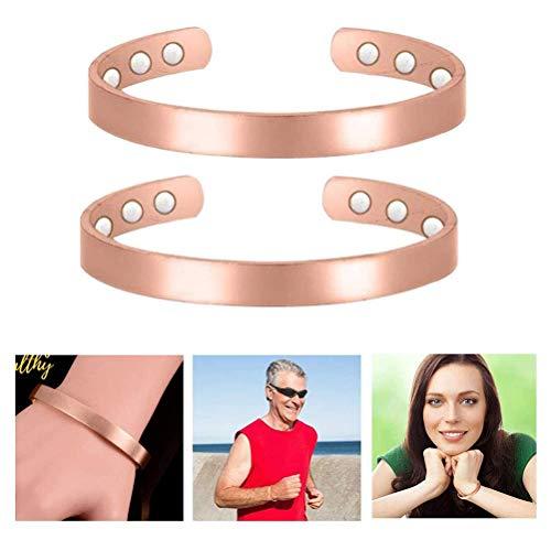 FEIDAjdzf Massage-Armband, 2 Stück, Kupfer, Magnettherapie-Armband, Golf-Manschette, Armreif für Arthritis, Sehnenscheidenentzündung