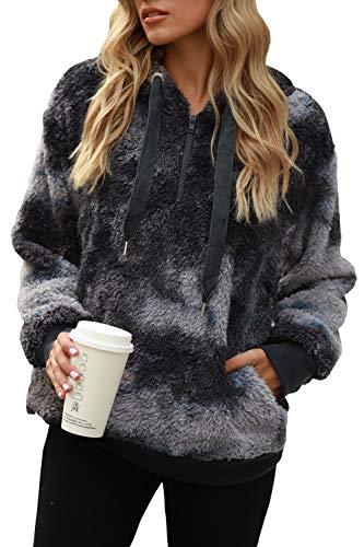 Yanekop Womens Fuzzy Fleece Sweatshirt Tie Dye Sherpa Pullover Oversized Hoodie With Pockets(Grey Mixed,3XL)