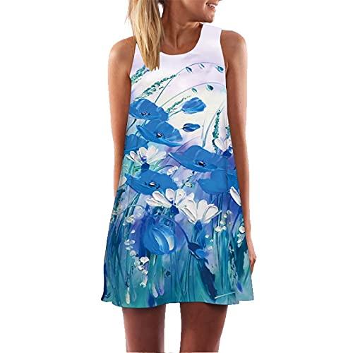 N\C Vestido De Cabestrillo con Estampado En 3D Plisados Degradados Vestido Informal Holgado De Oscilación Chaleco De Mujer Vestido De Sol Bohemio De Longitud Media XL