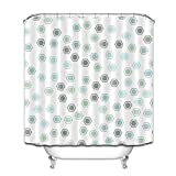 Sechseckiger grün-blauer minimalistischer Duschvorhang Badvorhang Dekoration wasserdichter Stoff