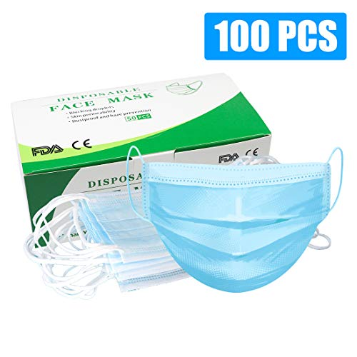 Disposable 100 PCS Filter 3-ply Face Mask Personal Protection Dust-Proof Anti Spittle Eye Mask for Earloop