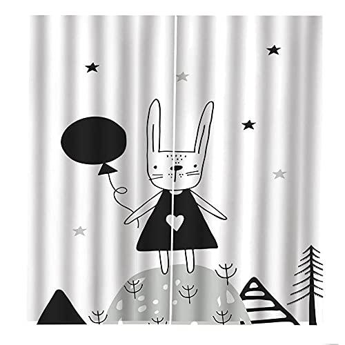 QGWMCD Blickdichte Vorhänge Verdunkelungsvorhänge Weißer schwarzer Karikaturhasenballon Ösenvorhänge Thermovorhang für Kinderzimmer & Schlafzimmer Gardine Wohnzimmer Küche 140x250cm x2