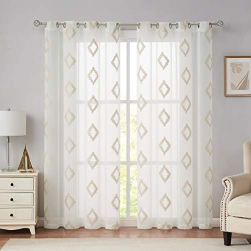 """Nottingson Home Embroidered Sheer Curtains Linen 84 Inches Long Living Room,Diamond/Lattice Patterned Voile Window Drapes Bedroom/Guest Room with Grommets/Rings Top,Wheat 54"""" Wx84 L 2 Panels"""