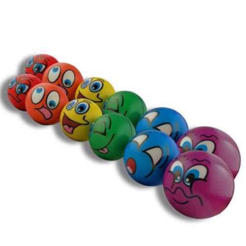 STUWU 6X Stressball Antistressball Streßball Knautschball Wutball Knetball Grimassenball 6cm