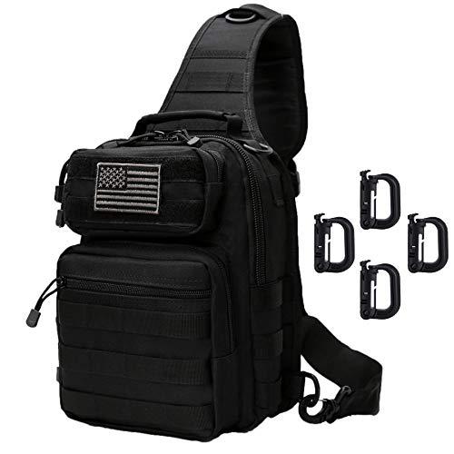 Neasyth Tactical Sling Bag Backpack Shoulder Chest Bag Outdoor Travel Hiking for Men (Black with D-Ring Clips)