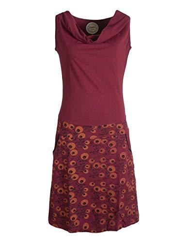 Vishes - Alternative Bekleidung - Damen Baumwoll-Kleid, Blumen-Muster, Wasserfall-Kragen und Taschen dunkelrot 38-40