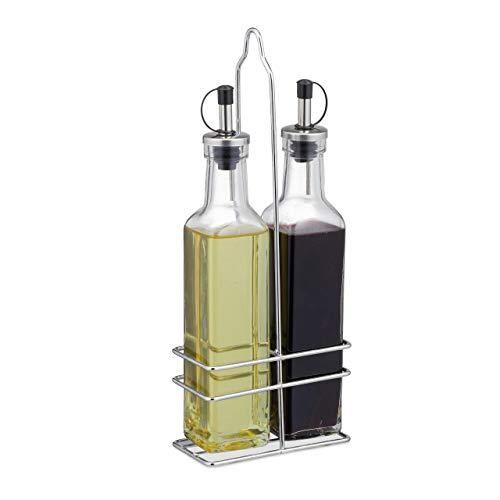 Relaxdays Essig und Öl Spender, mit Ausgießer, 2 in 1 für Küche, Ölflaschen mit Ständer, Glas, 2 x 250 ml, transparent
