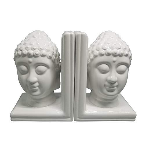 Sagebrook Home 15885 Set of 2 8' Buddha Heads Bookends, White