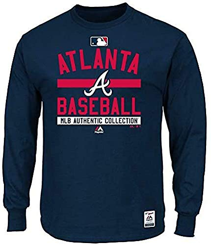Majestic MLB Atlanta Braves Authentic Long Sleeve Langarm Shirt T-Shirt Baseball Jersey Trikot (S)