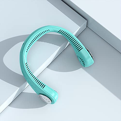 Funight Ventilador de cuello portátil, 3 velocidades, recargable, manos libres, mini ventilador sin aspas USB, apto para viajes al aire libre, hogar y oficina. Azul