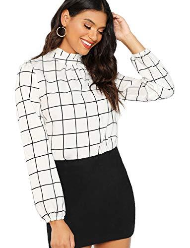 Romwe Women's Elegant Printed Stand Collar Long Sleeve Workwear Blouse Top Shirts White Check M