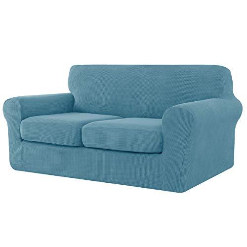 Chun Yi Jacquard - Funda de sofá extensible, funda de cojín de asiento, protector de mueble, azul celeste, 2 plazas