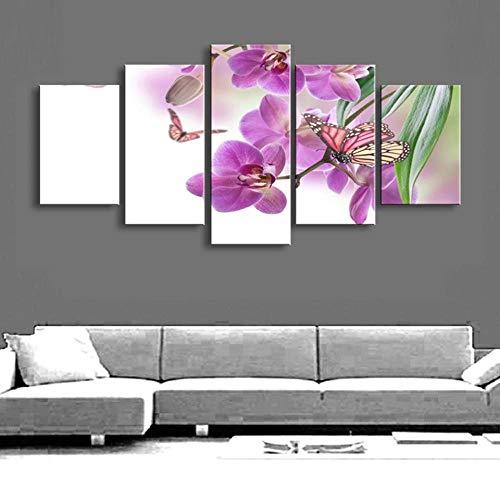 QZWXEC Kunstdrucke, Leinwanddrucke Print Pictures Painting Wall Art Modular Poster 5 Panel Butterflies Violet Flowers Modern Canvas Living Room Frame HD Home Decor
