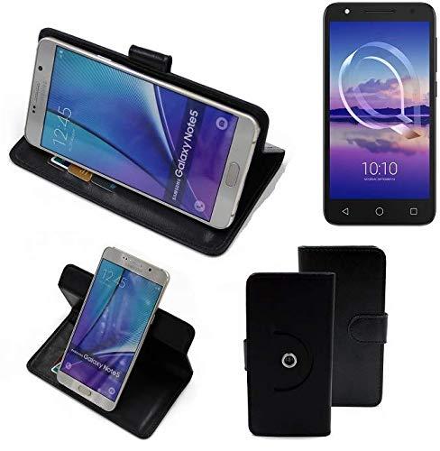 K-S-Trade® Handy Hülle Für Alcatel U5 HD Single SIM Flipcase Smartphone Cover Handy Schutz Bookstyle Schwarz (1x)
