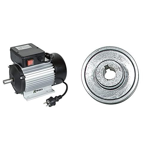 Ribimex M2M28 Motore elettrico con cavo 2cv-2750 tr/min & PRP19/080 Puleggia in Alluminio, 19/80 mm, Multicolore