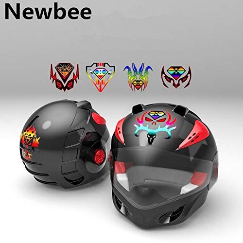BLOUR Newbee 12cm * 12cm reflektierende Auto Motorrad Motorrad Aufkleber Universal 3D Kraftstofftankschutz Helm Laptop Dekoration Aufkleber