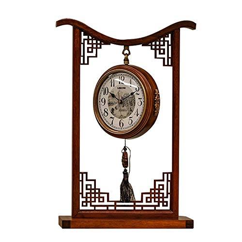 HKX Kamin-Uhr, doppelseitiges Zifferblatt, 360 ° drehbar, Metalluhr, Zifferblatt Eisen, Birne, Retro, Stummschaltuhr, batteriebetrieben, Schreibtisch-Uhren, Haushaltsdekoration (Farbe: Braun)